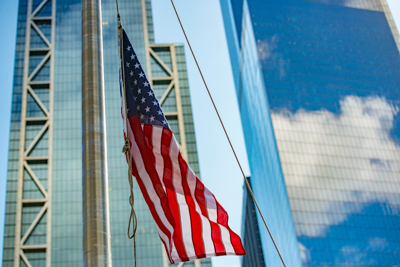 American Flag flying in front of 3 and 4 World Trade Center