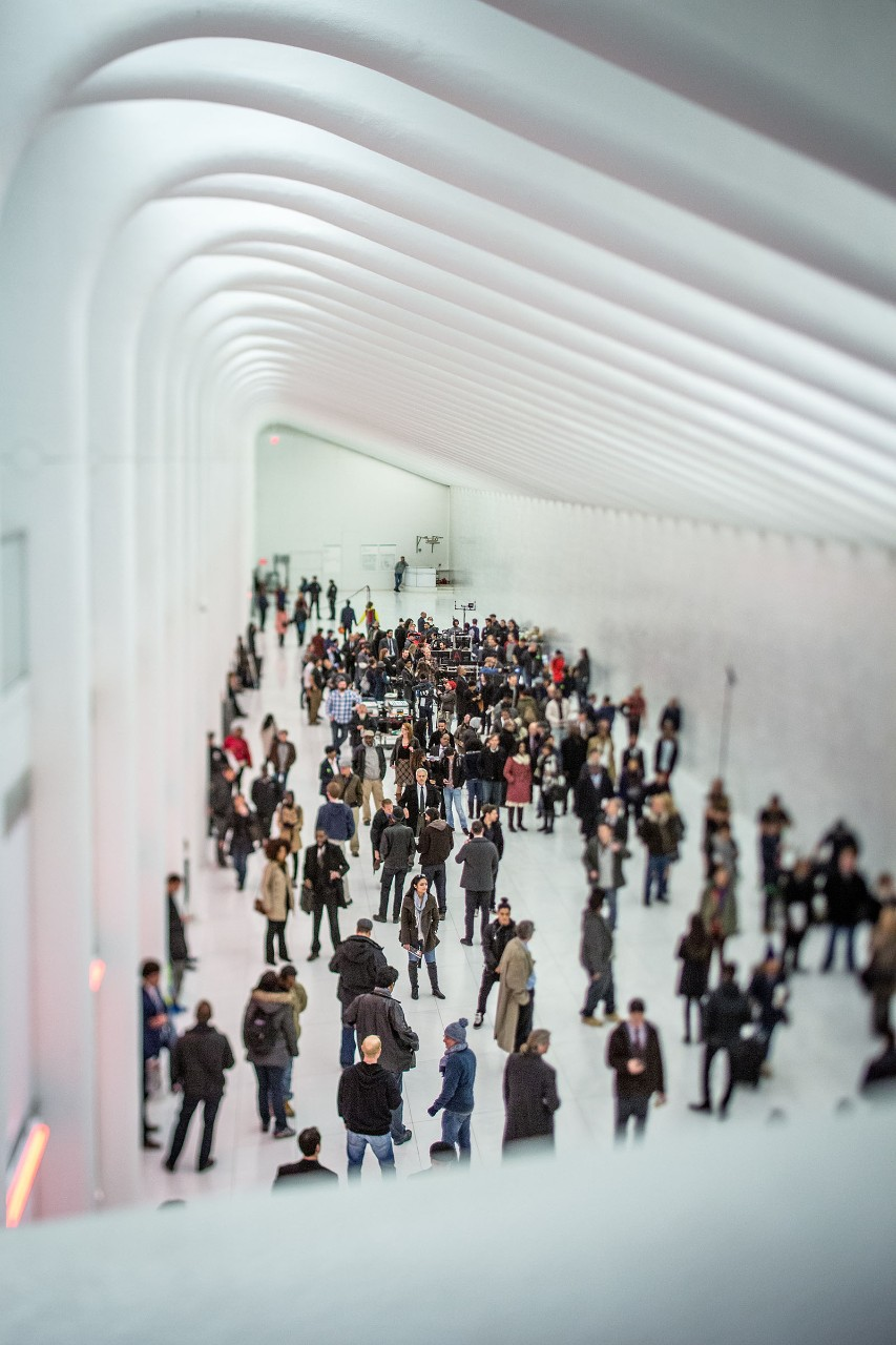 A movie filming inside the World Trade Center Oculus