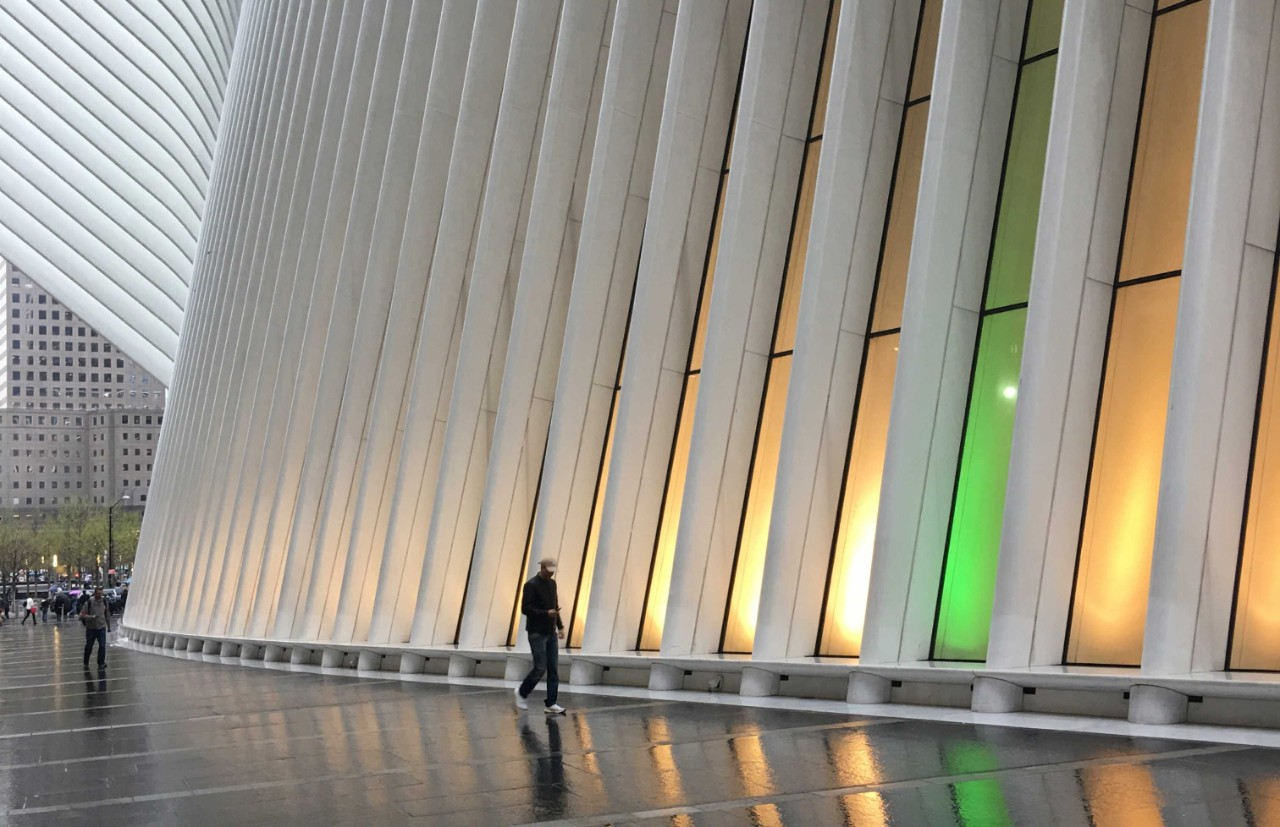 An exterior shot of the Oculus at the World Trade Center showcasing new LED lights
